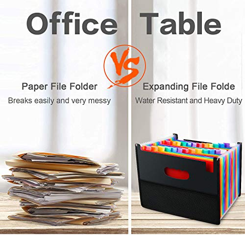 26 Pockets Accordian File Organizer,Expanding Filing Box with Mesh Bag,Accordion File Folders Expandable Cover,Portable Paper/Bill/Receipt/Document Organizer with 3 A-Z Alphabet Tabs(A4/Letter Size ) Photo #5
