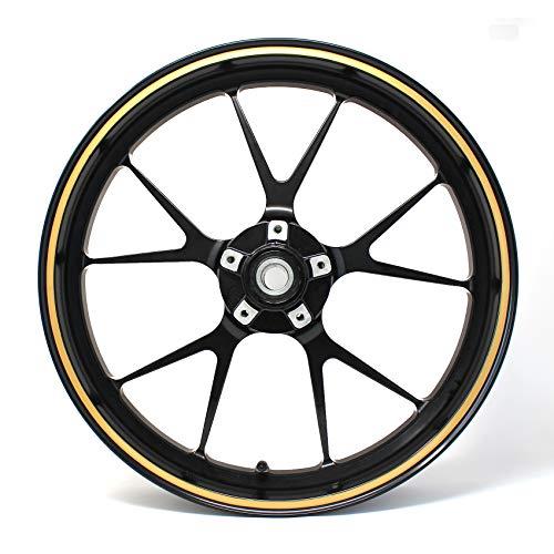 """Strisce adesive per cerchioni, larghezza 7 mm, in carbonio opaco, lucido, con strumento di montaggio da 16"""", 17"""", 18"""", 19"""", accessori per auto e moto (oro)"""