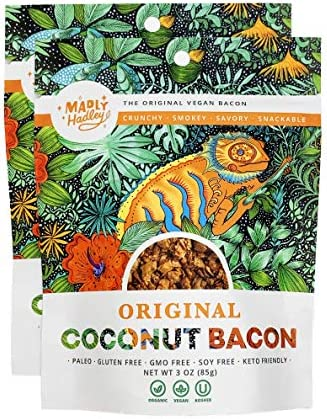 Organic Vegan Coconut Bacon 2 Packs of Non GMO Gluten Free Soy Free Plant Based Snack made with product image