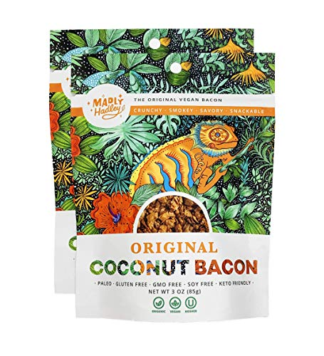 Organic Vegan Coconut Bacon 2-Packs of Non GMO, Gluten Free, Soy Free Plant Based Snack made with Healthy Vegan, Paleo and Keto Friendly Ingredients