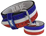 RAD Split Leather Weight Lifting Powerlifting Belt Back Support (XL, White, Blue, Red)