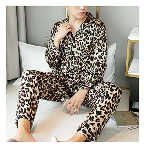 Hombres Satin Pijama Set - Conjunto De Pijama De 2 Piezas con Botones, Cárdigan De Manga Larga,...