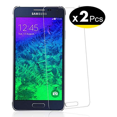 NEW'C Pacco da 2 Pezzi, Pellicola Protettiva in Vetro Temperato per Samsung Galaxy Alpha