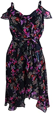 Betsey Johnson Women's Printed Cold-Shoulder Wrap Dress