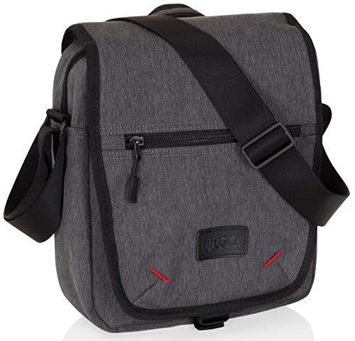 hjh OFFICE 770002 Tablet-Tasche 10.1 Zoll Unite III Stoff Grau Notebooktasche Business Umhängetasche mit Schultergurt