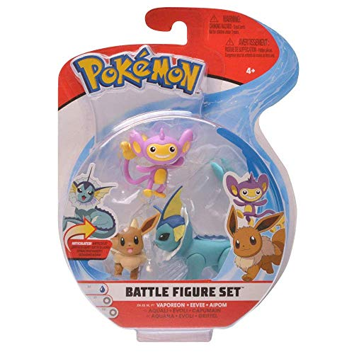 PoKéMoN Figure Battle 3-Pack, Griffel, Evoli & Aquana | Neue Welle 2020 | Offiziell Lizenzierte Ware
