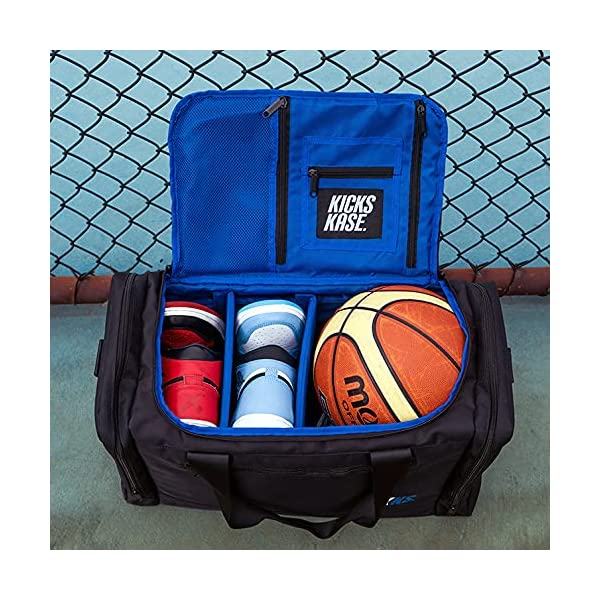 kxks. (kicks kase) premium sneaker bag & travel duffel bag – 3 adjustable compartment dividers – for shoes, clothing and…