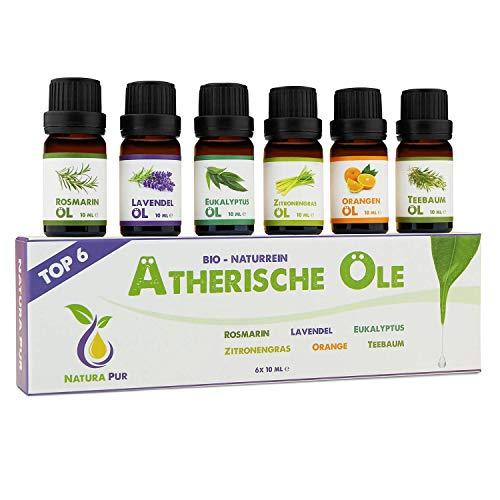 NATURA PUR Etherische Oliën Set - 100% biologische en natuurlijke geurolie voor diffusers - aromatische olie voor aromatherapie - 6x 10ml (rozemarijn, lavendel, eucalyptus, citroengras, sinaasappel en theeboomolie)