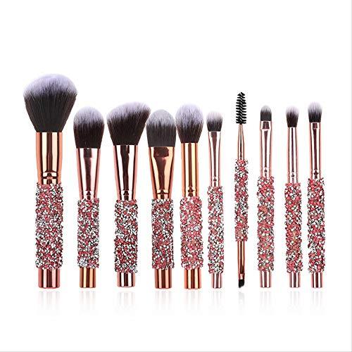 Pinceaux Maquillages Dix Pinceaux À Maquillage Rose Incrustés De Diamants Pinceau À Tubes En Laine Et Aluminium