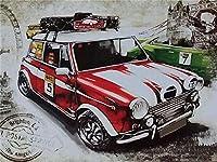 5DDIYレーシングカー漫画レトロカーダイヤモンドペインティングクロスステッチダイヤモンド刺繍モザイク写真ラインストーンヴィンテージカー