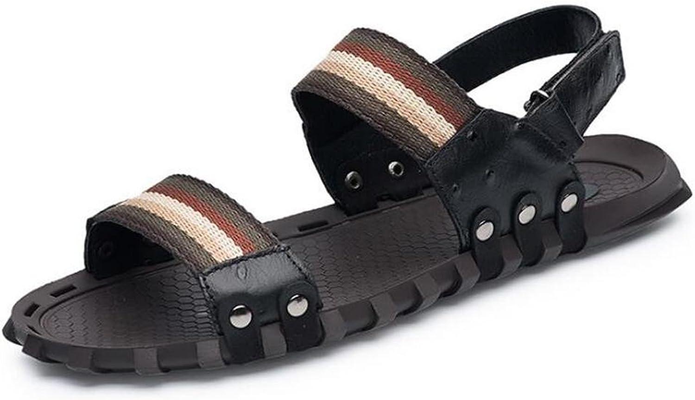 NSLXIE Mnner Schuhe aus Echtem Leder Sandalen Strand Sommer Offene Zehe Ziehen auf Slipper Atmungsaktive Folien Rutschfeste Weiche Sohlen Gre 38 bis 45, Schwarz, EU45