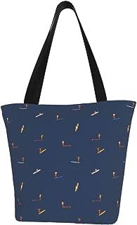 Lesif Einkaufstaschen, Soul Surfer, dunkelblau, Segeltuch, Einkaufstasche, wiederverwendbar, faltbar, Reisetasche, groß und langlebig, robuste Einkaufstaschen