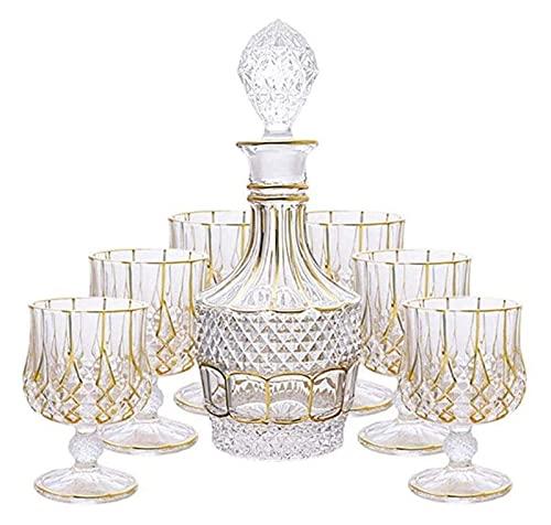 JIUYUE Decantador de Whisky Decantador de Vino Crystal Whisky Decanter Gold Crystal Glass Retro Extranjero Botella de Vino Botella de Vino Tinto Copa de Vino Hogar 700ml / 230ml 7 Pieza. Licorera