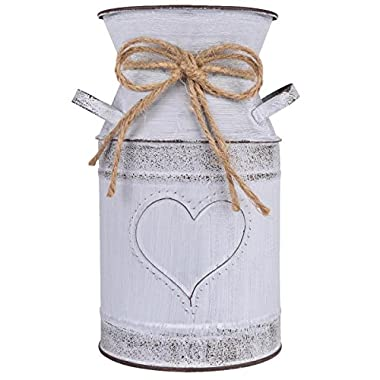 IDoall 7.5  High Decorative Vase with Unique Heart-Shaped and Rope Design, Galvanized Finish- Rustic Decorated for Living Room, Bedroom, Kitchen (grey)