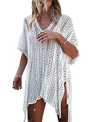 Jeasona Women's Bathing Suit Cover Up Beach Bikini Swimsuit Swimwear Crochet Dress (Off White, M)