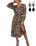 UUAISSO Damen Kleider Langarm Casual V-Ausschnitt Leopard Blumen mit Gürtel Strandkleid Abendkleid Lange Maxikleider Braun Leopard L