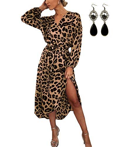 UUAISSO Damen Kleider Langarm Casual V-Ausschnitt Leopard Blumen mit Gürtel Strandkleid Abendkleid Lange Maxikleider Braun Leopard 2XL