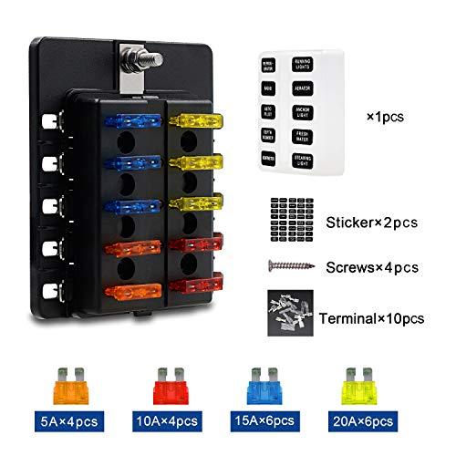 TR Turn Raise 10-Fach Sicherungshalter ATO Sicherungskasten Doppeldeckel für KFZ Auto Boot