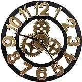 Reloj De Pared Silencioso, 3D Clásico Vintage Madera Silencioso...