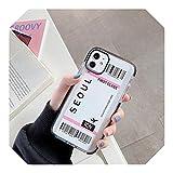 New York Los Ángeles Paris Tokio City Label - Carcasa para iPhone X XS MAX 11 Pro XR 7 8 Plus funda de boleto de avión de viaje para iPhone 7Plus