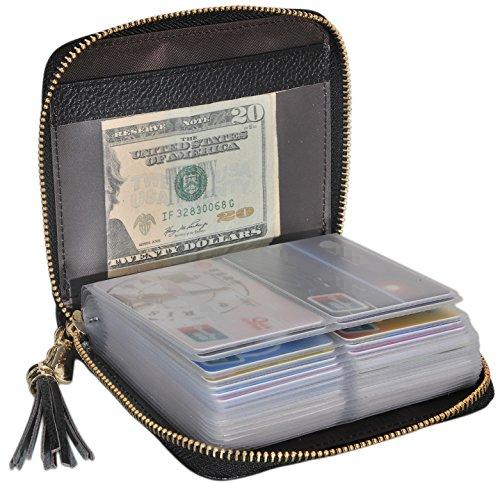 Easyoulife Womens Credit Card Holder Wallet Zip Leather Card Case RFID Blocking (Black)