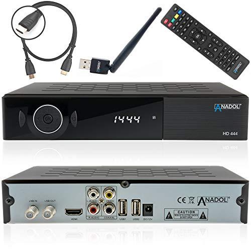 Anadol ADX HD 444 SATELLITEN SAT Receiver DVB-S/S2 - Hochwertiger DVB-S/S2 Receiver + HDMI Kabel (HDTV, HDMI, USB 2.0, Koaxial Ausgang) (+ WLAN + HDMI Kabel)
