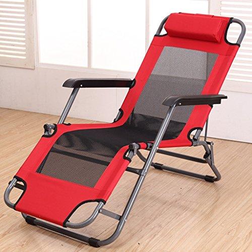 LI JING SHOP - Liegestühle Haushalt Mittagspause einfach Mittagspause Balkon Nickerchen Mobiler Liegestuhl ( Farbe : Rot )
