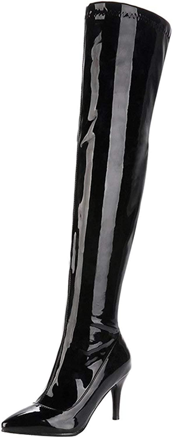 Vitalo Womens Over The Knee High Heel Patent Zip up Pointed Thigh High Boots