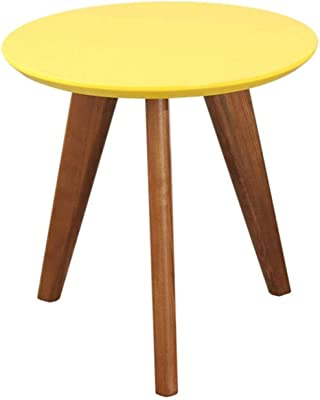 LF- Solid Wood Sofa Table Household Small Round Table Corner ONE Pair Round Side Table Living Room Decoration Small Coffee Table Tea Table Negotiate Table Chic (Color : Yellow)