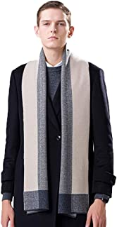 Scarves Scarf Scarves Men's Scarf Autumn and Winter Business Scarf Thick Wool Scarf Warm Plaid Scarf (Color : Blue, Size : 180 * 30cm)