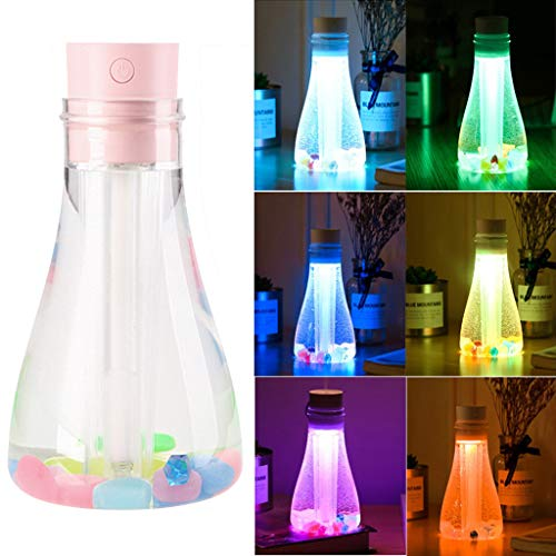 DSDecor Mini Colorful Wishing Bottle Humidifier with 7 Color LED Lights Air Humidifier for Bedroom Kids Car Office Desk Humidifier (Pink)