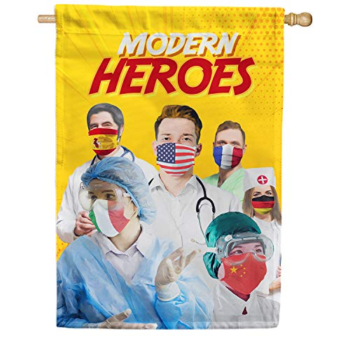 America Forever Flags Double Sided House Flag - A World of Heroes - 28' x 40', Thank You Healthcare Workers, Fight Against Covid-19 Coronavirus Pandemic Flag, Yard Outdoor Decor Flags