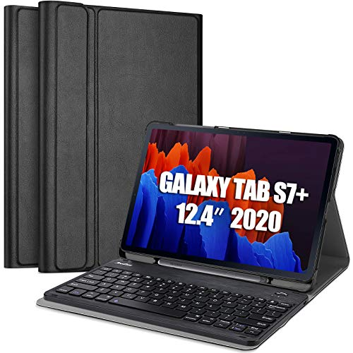ProCase US-English Keyboard Case for Galaxy Tab S7 Plus (SM-T970/T975/T976/T978) 12.4-Zoll 2020 Release, Lightweight Smart Cover with Magnetically Detachable Wireless Keyboard –Black