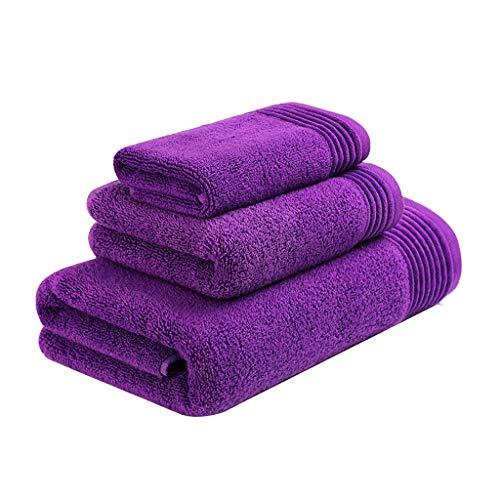 ZRJ para el Hogar Pack de 3 Toallas de Baño de Fundido Paños Toallitas Resistentes de Algodón Suave Toallas Secas Rápida Yoga Playa Deportes Gimnasio (Color : Purple)