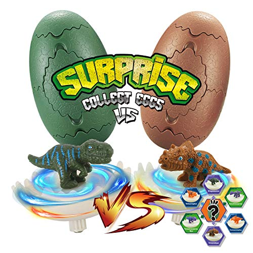 Dinosaur Toys for Kids, 2 Packs Burst Dino Eggs of Flashing Spinning Tops, Preschool Travel Toys Battle Game for Boy and Girl