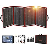 DOKIO 200W Foldable Solar Panel Kit Lightweight(11lb,28x20 inch) Monocrystalline(HIGH Efficiency) with Controller USB Output to Charge 12V Batteries (All Types: Vented AGM Gel) RV Camper Boat