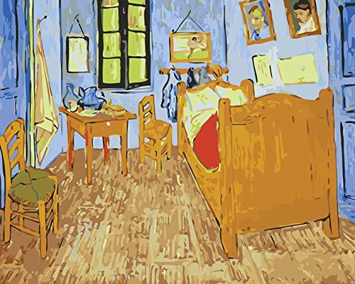 Mileelife Pintar por números para niños Adultos Kit de Pintura al óleo DIY Principiante - La casa de Van Gogh 1365