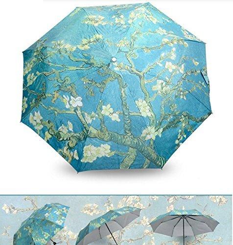 Get Orange Oil Painting 3 Folding Parasol Sun Protection Anti-uv Travel Umbrella (Almond Blossom 1)