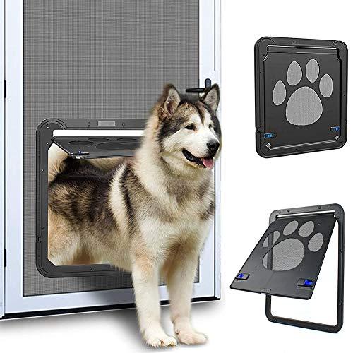 ACMLIFE Porta Zanzariera per Cani/Gatti Porta Scorrevole per Cani Porta per Esterni Porta per Gatti/Cani con Serratura (L-37cm*42cm)