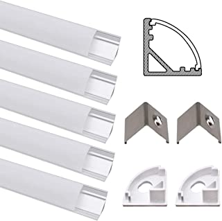 JIRVY 5 Pack 1m / 3.3ft Led Aluminum Channel Profile V-Shape Aluminum Extrusion Tracks for Flex/Hard LED Strip Lights Installations with White Diffuser Cover, End Caps and Metal Mounting Clips