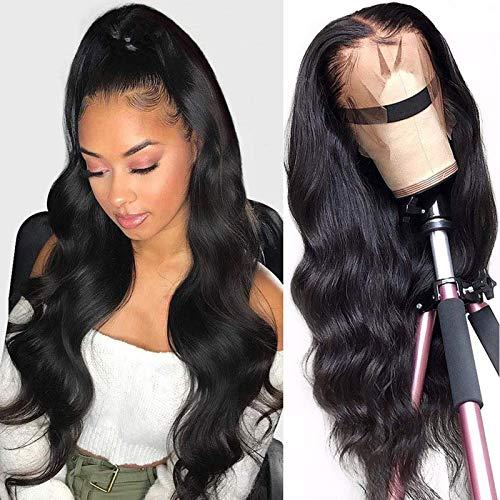 Lange gewellte Perücke Afrikanische Damen Locken Echthaar Perücken Synthetische brasilianische Body Wave Lace Front Perücken für Schwarze Frauen 12-24 '' (A)