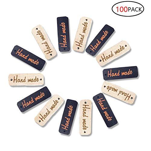 CAILI 100 x Bottoni fatto a Mano,Señalización de Madera, Botón de la Placa de Madera, Letrero de Madera Hecho a Mano, Trabajo Artesanal Creativo, Beige 50 Negro 50