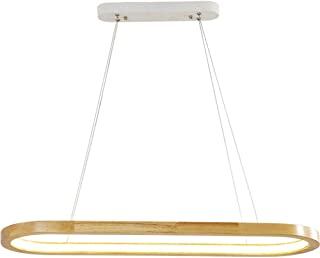 Home Equipment Lamp Wood Color Long Strip LED Pendant Light Height Adjustable Suspension Lamp Modern Wood Dining Room Ligh...