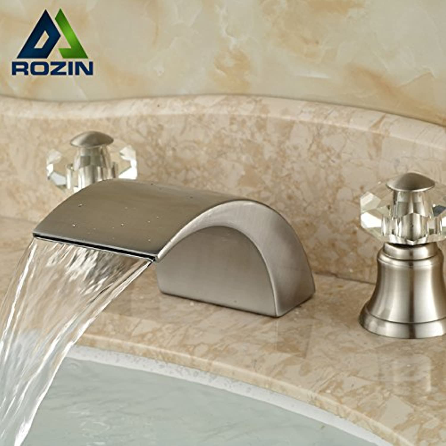 Maifeini On Deck Inssizetion Brushed Nickel Plated Holes Of Hot And Cold Basin Dual Crystal Handle Bathroom Faucet Tap, Nickle-Plated Appearance.