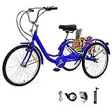 Sehrgo zehnhase triciclo para adultos con cestas, 24 pulgadas bicicleta de triciclo con marco de aleación(de valores) - azul