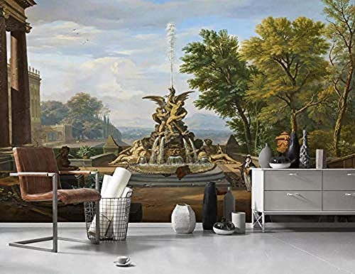 Vintage Baum Garten Brunnen Skulptur für Wände Wandbilder Tapete Wanddekoration fototapete 3d Tapete effekt Vlies wandbild Schlafzimmer-250cm×170cm