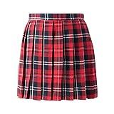 Women School Uniforms plaid Pleated Mini Skirt, Waist(64cm/25inch) S, Bright Red