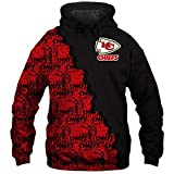 NFLパーカープルオーバートレーナー - カンザスシティ・チーフス3Dラグビーファンスポーツティーン春の野球ユニフォームジャケットスポーツ長袖Tシャツ Black+Red-S