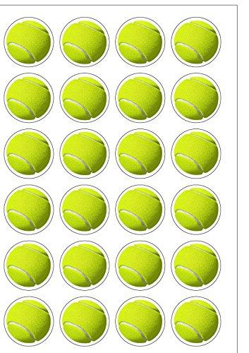 Essbare Kuchendekoration im Wimbledon-Design, vorgeschnittene, runde Tennisbälle, Oblatenpapier, 24 Stück