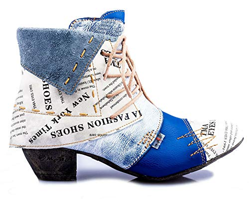 TMA 6106 Damen Stiefeletten Leder blau - EUR 39